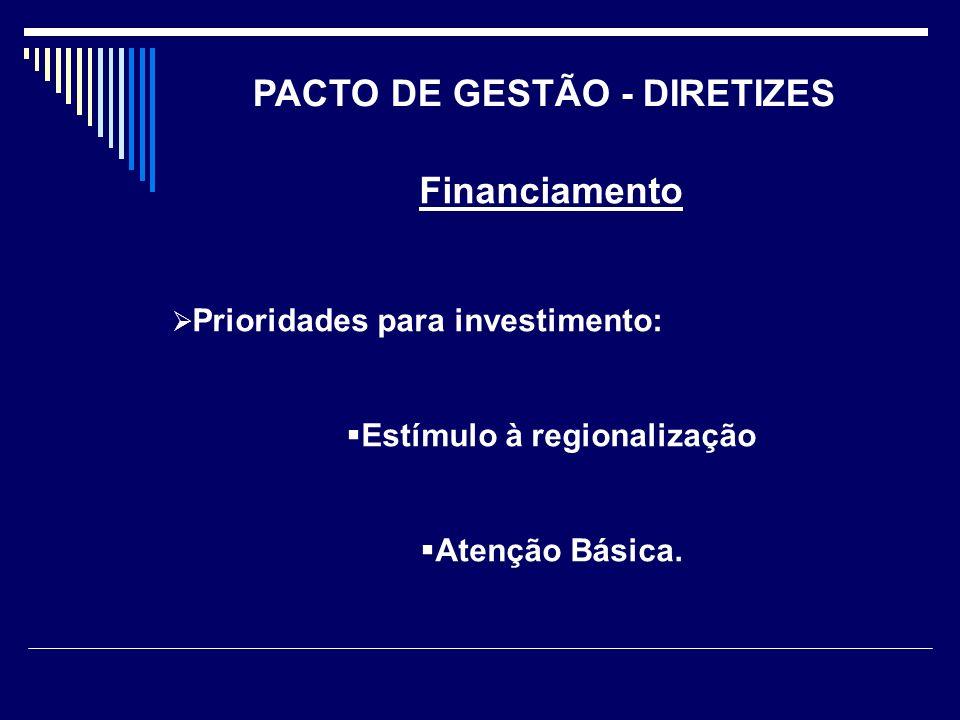 PACTO DE GESTÃO - DIRETIZES Estímulo à regionalização