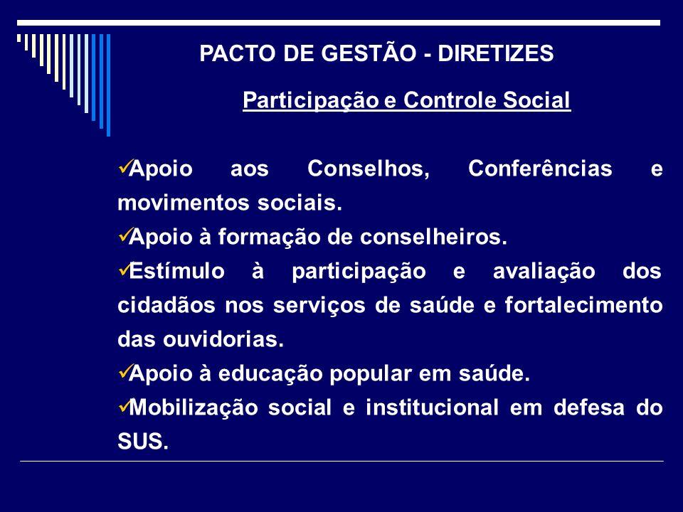 PACTO DE GESTÃO - DIRETIZES Participação e Controle Social
