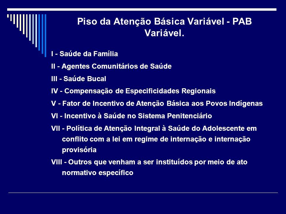 Piso da Atenção Básica Variável - PAB Variável.