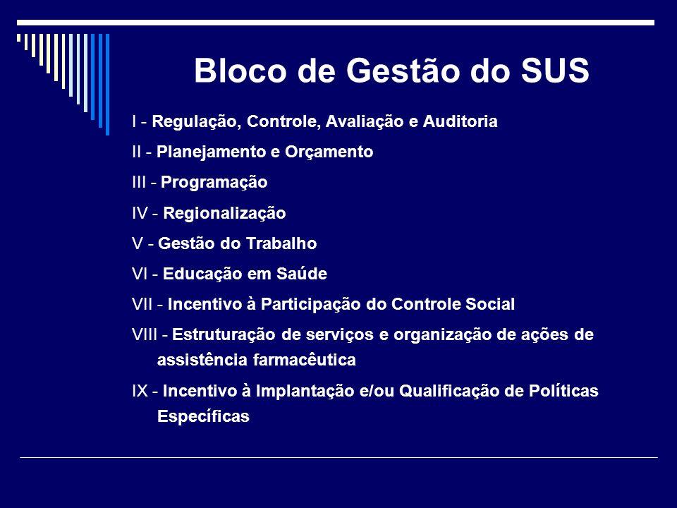 Bloco de Gestão do SUS I - Regulação, Controle, Avaliação e Auditoria