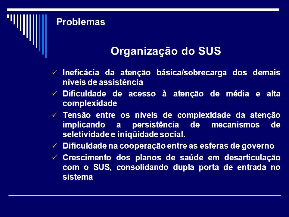 Organização do SUS Problemas