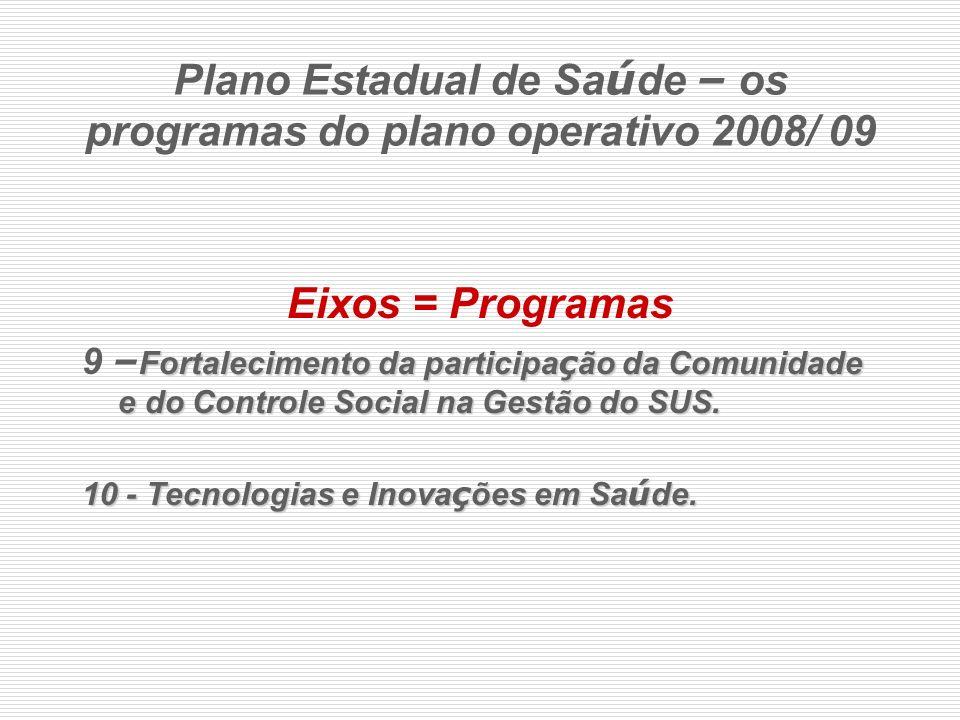 Plano Estadual de Saúde – os programas do plano operativo 2008/ 09