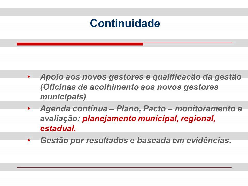 Continuidade Apoio aos novos gestores e qualificação da gestão (Oficinas de acolhimento aos novos gestores municipais)