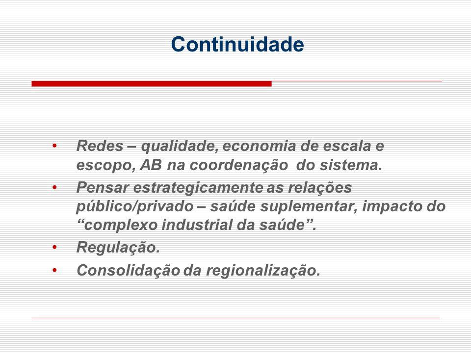 Continuidade Redes – qualidade, economia de escala e escopo, AB na coordenação do sistema.