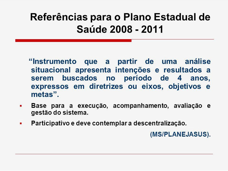 Referências para o Plano Estadual de Saúde 2008 - 2011