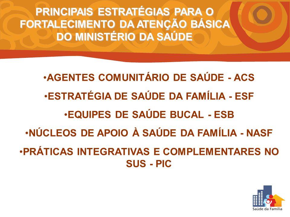 PRINCIPAIS ESTRATÉGIAS PARA O FORTALECIMENTO DA ATENÇÃO BÁSICA DO MINISTÉRIO DA SAÚDE
