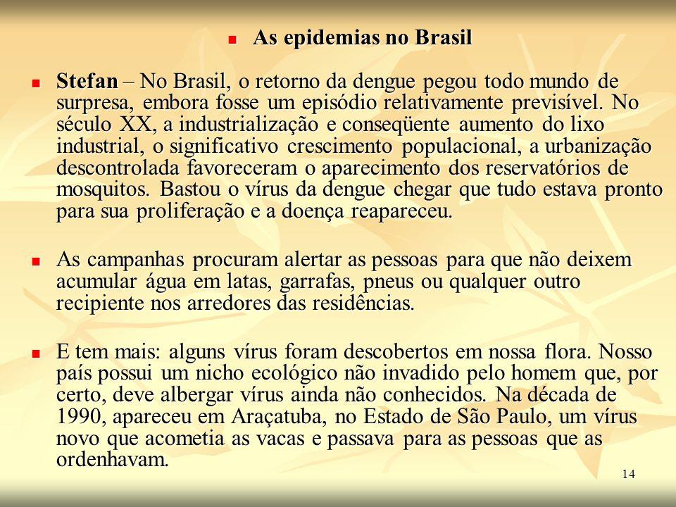 As epidemias no Brasil