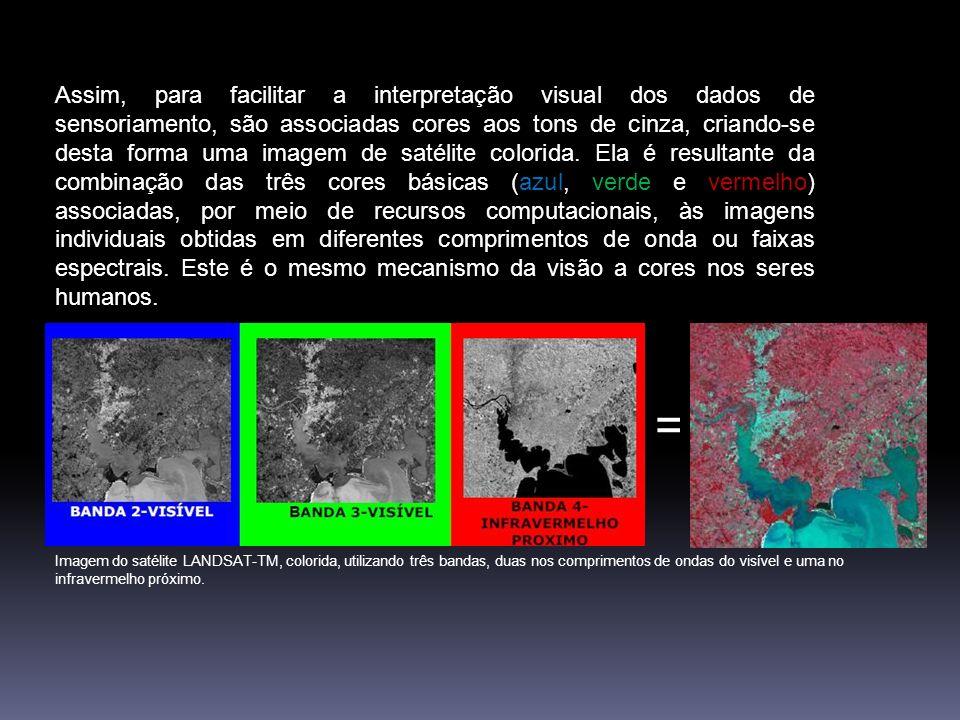 Assim, para facilitar a interpretação visual dos dados de sensoriamento, são associadas cores aos tons de cinza, criando-se desta forma uma imagem de satélite colorida. Ela é resultante da combinação das três cores básicas (azul, verde e vermelho) associadas, por meio de recursos computacionais, às imagens individuais obtidas em diferentes comprimentos de onda ou faixas espectrais. Este é o mesmo mecanismo da visão a cores nos seres humanos.