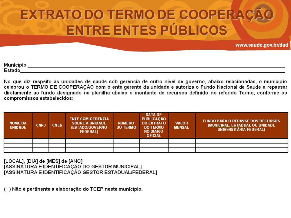 EXTRATO DO TERMO DE COOPERAÇÃO ENTRE ENTES PÚBLICOS