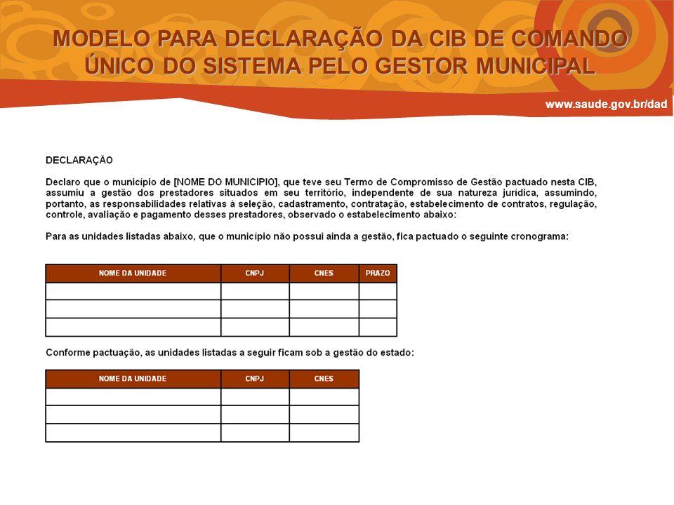 MODELO PARA DECLARAÇÃO DA CIB DE COMANDO ÚNICO DO SISTEMA PELO GESTOR MUNICIPAL