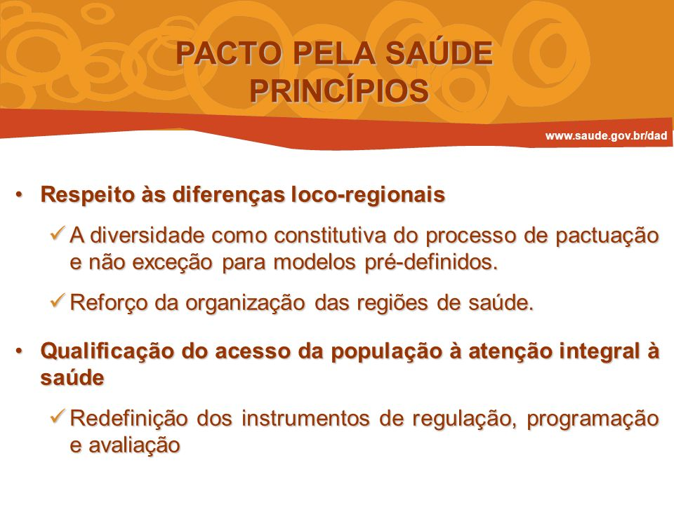 PACTO PELA SAÚDE PRINCÍPIOS