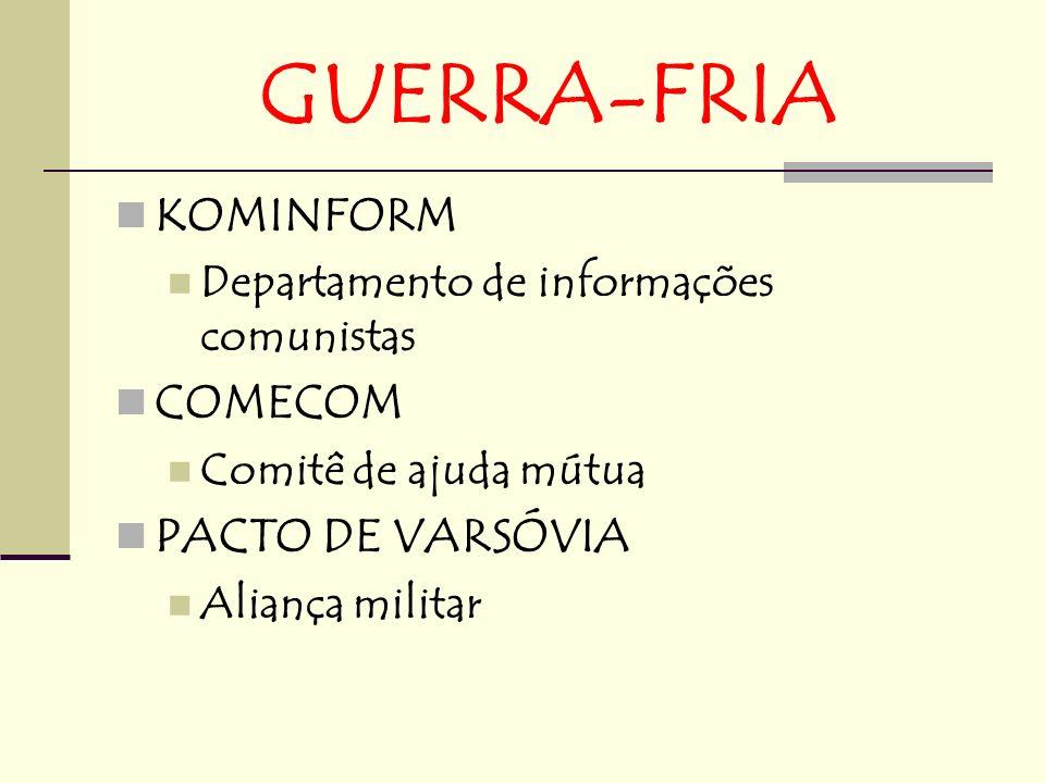 GUERRA-FRIA KOMINFORM COMECOM PACTO DE VARSÓVIA