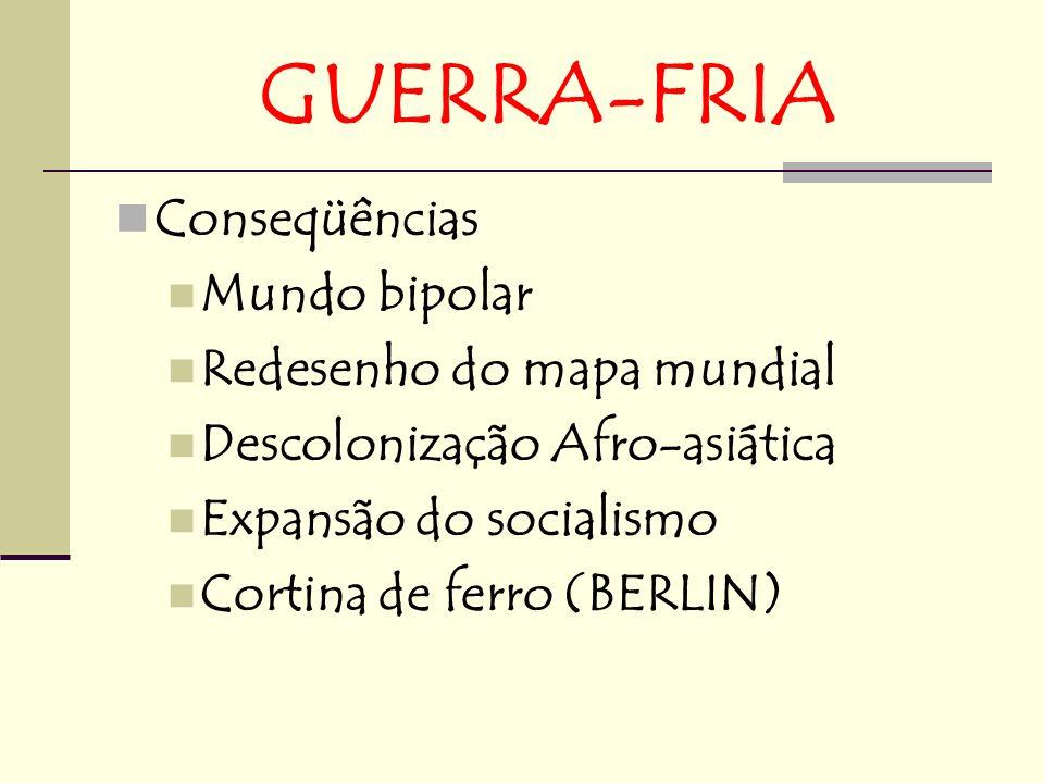 GUERRA-FRIA Conseqüências Mundo bipolar Redesenho do mapa mundial