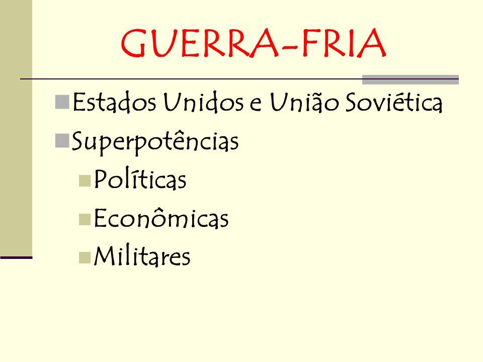 GUERRA-FRIA Estados Unidos e União Soviética Superpotências Políticas