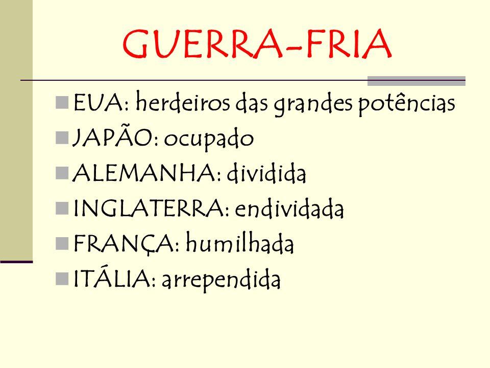 GUERRA-FRIA EUA: herdeiros das grandes potências JAPÃO: ocupado