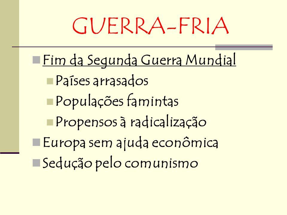 GUERRA-FRIA Fim da Segunda Guerra Mundial Países arrasados