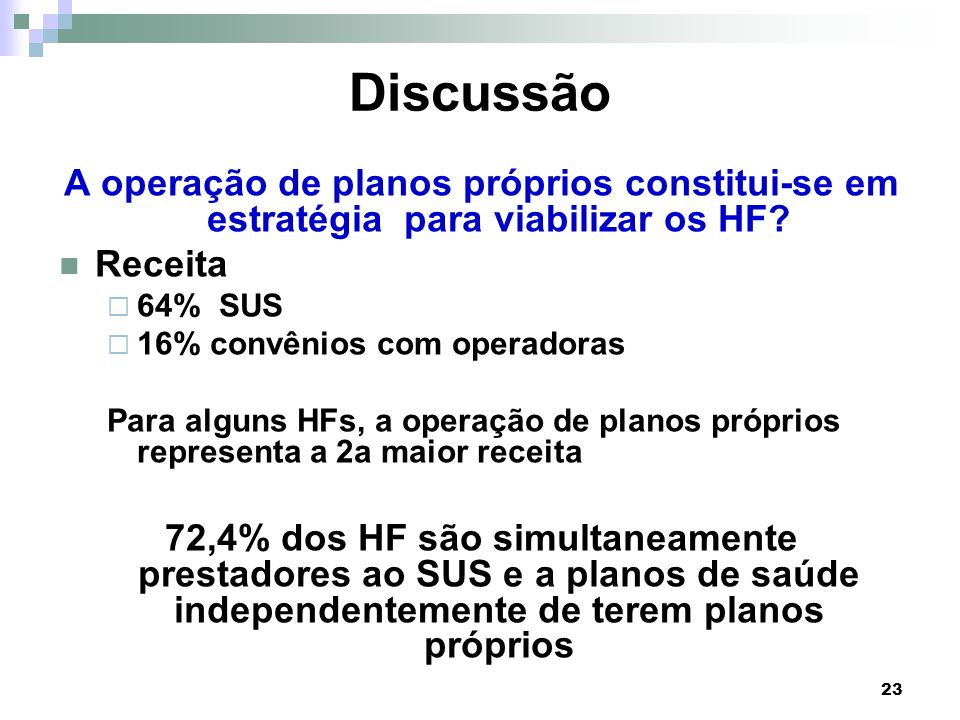 Discussão A operação de planos próprios constitui-se em estratégia para viabilizar os HF Receita.
