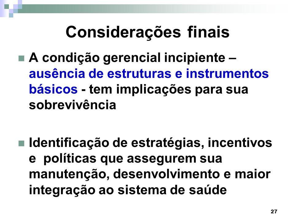Considerações finais A condição gerencial incipiente – ausência de estruturas e instrumentos básicos - tem implicações para sua sobrevivência.