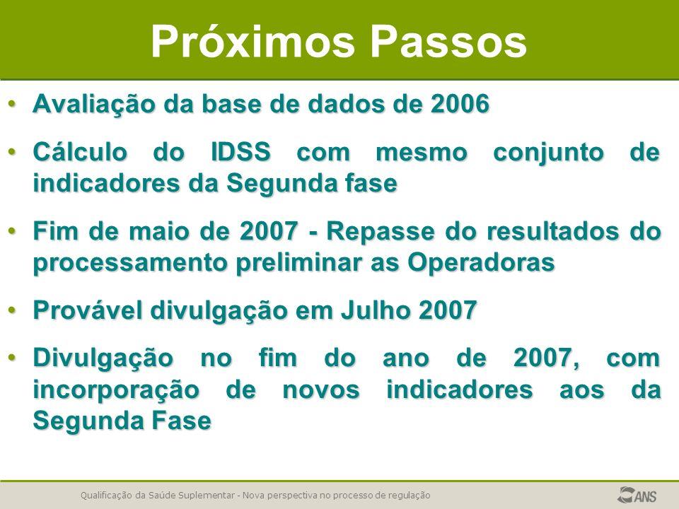 Próximos Passos Avaliação da base de dados de 2006