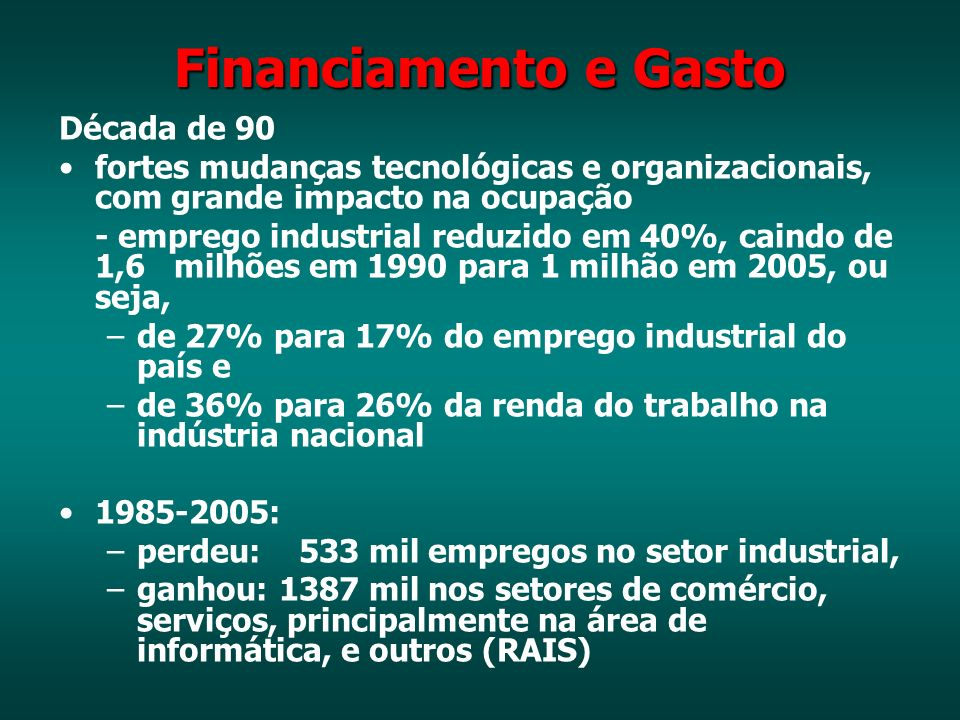 Financiamento e Gasto Década de 90