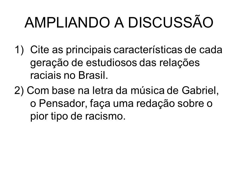 AMPLIANDO A DISCUSSÃOCite as principais características de cada geração de estudiosos das relações raciais no Brasil.