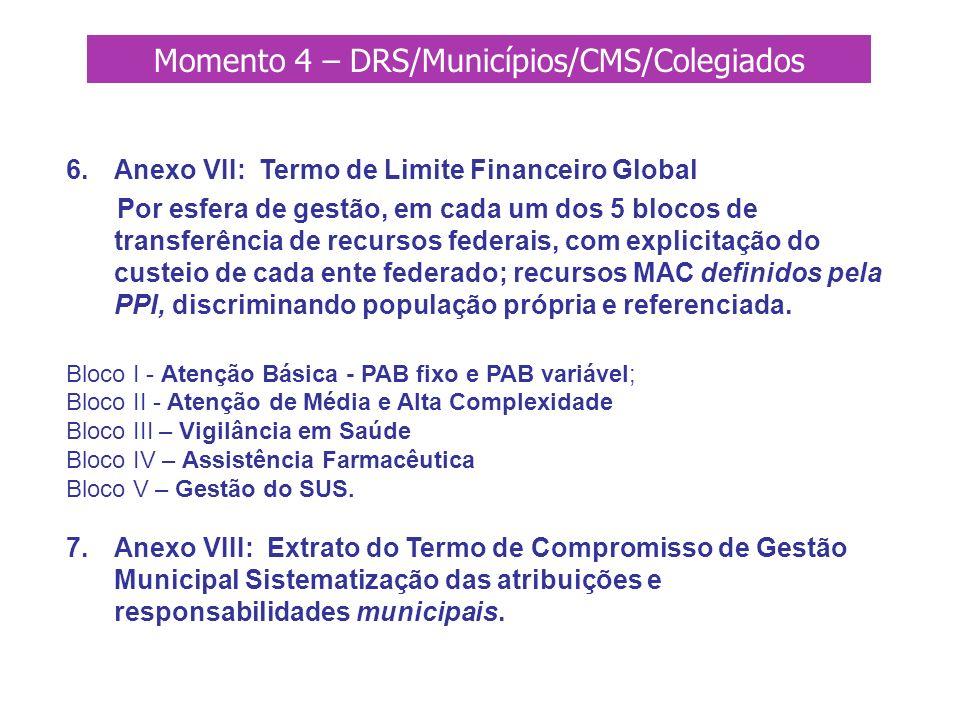 Momento 4 – DRS/Municípios/CMS/Colegiados