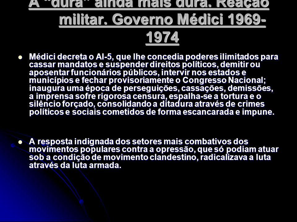 A dura ainda mais dura. Reação militar. Governo Médici 1969-1974