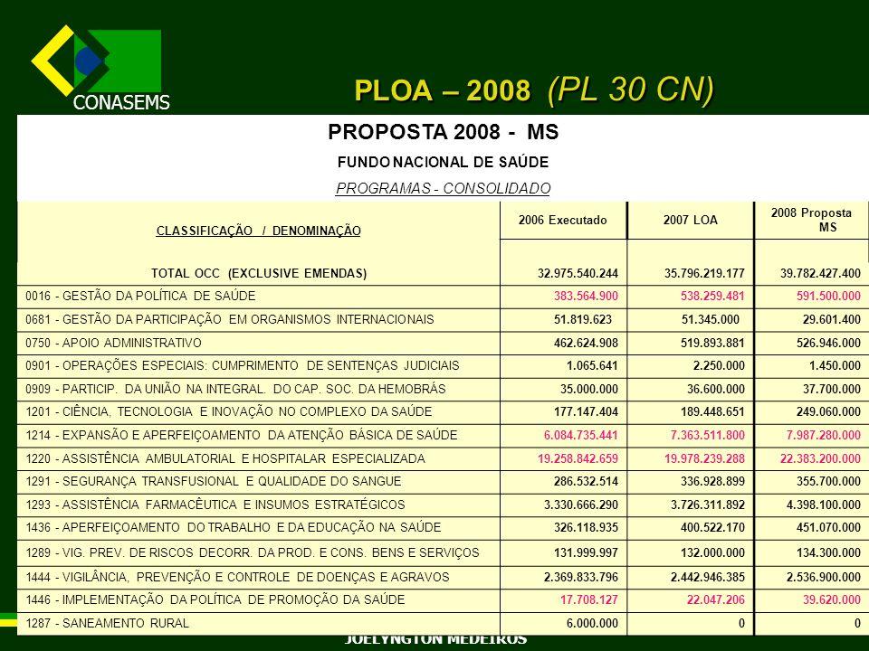 PLOA – 2008 (PL 30 CN) PROPOSTA 2008 - MS FUNDO NACIONAL DE SAÚDE