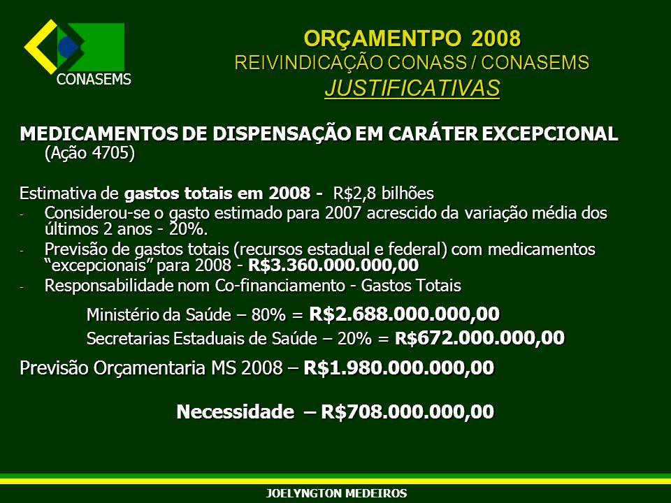 ORÇAMENTPO 2008 REIVINDICAÇÃO CONASS / CONASEMS JUSTIFICATIVAS