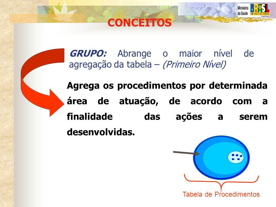 CONCEITOS GRUPO: Abrange o maior nível de agregação da tabela – (Primeiro Nível)