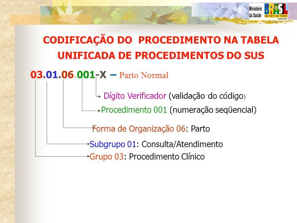 CODIFICAÇÃO DO PROCEDIMENTO NA TABELA UNIFICADA DE PROCEDIMENTOS DO SUS