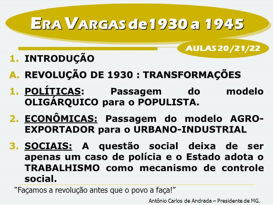 ERA VARGAS de1930 a 1945 INTRODUÇÃO REVOLUÇÃO DE 1930 : TRANSFORMAÇÕES