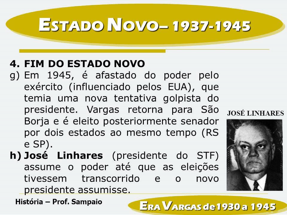 ESTADO NOVO– 1937-1945 ERA VARGAS de1930 a 1945 FIM DO ESTADO NOVO