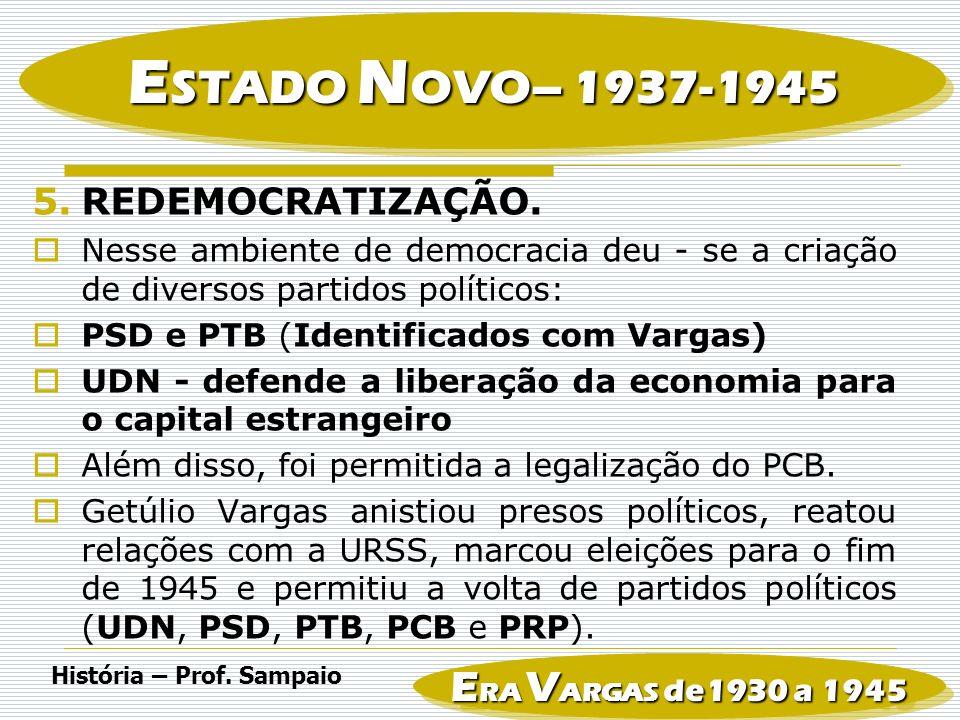 ESTADO NOVO– 1937-1945 ERA VARGAS de1930 a 1945 REDEMOCRATIZAÇÃO.