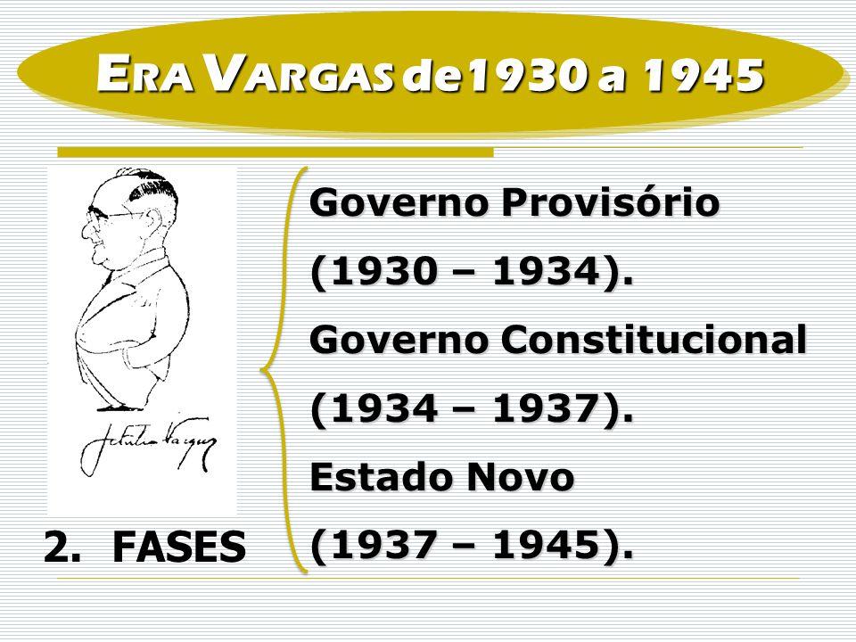 ERA VARGAS de1930 a 1945 FASES Governo Provisório (1930 – 1934).