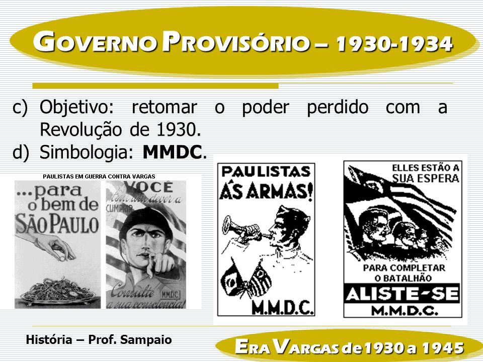 GOVERNO PROVISÓRIO – 1930-1934 ERA VARGAS de1930 a 1945