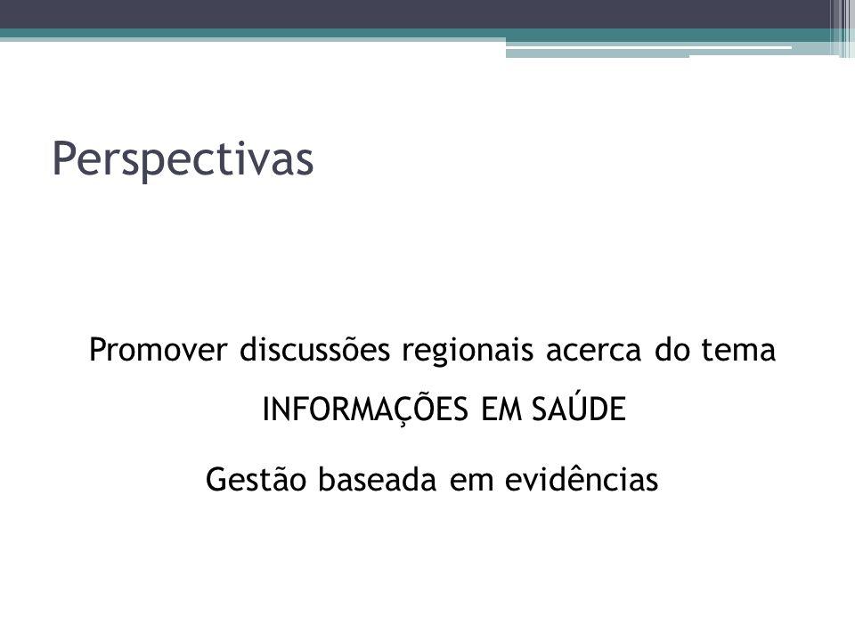 Perspectivas Promover discussões regionais acerca do tema INFORMAÇÕES EM SAÚDE.