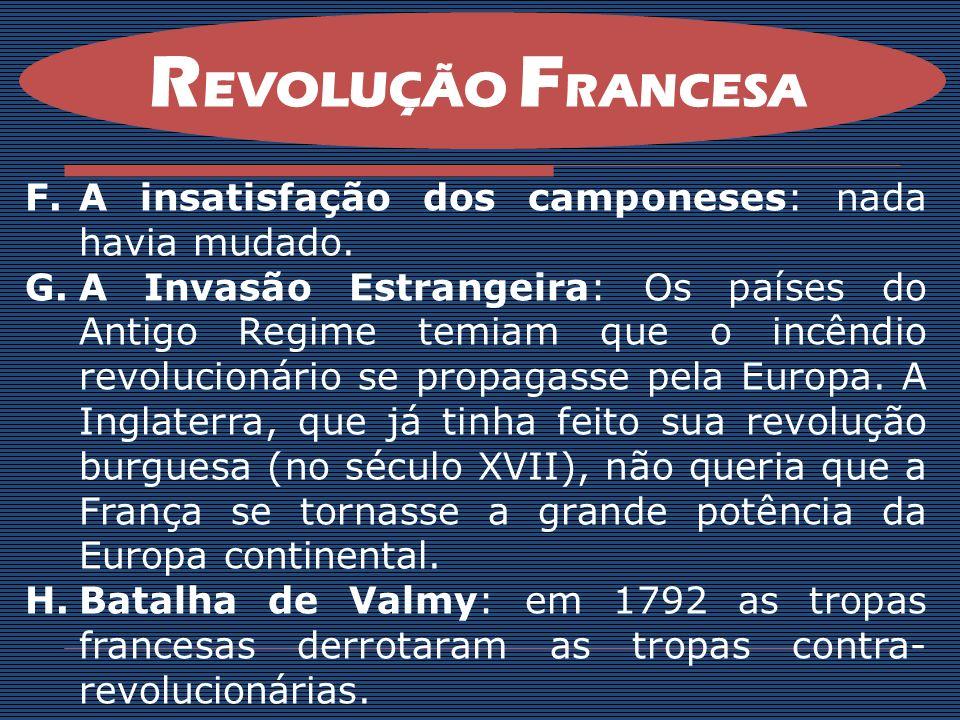 REVOLUÇÃO FRANCESA A insatisfação dos camponeses: nada havia mudado.