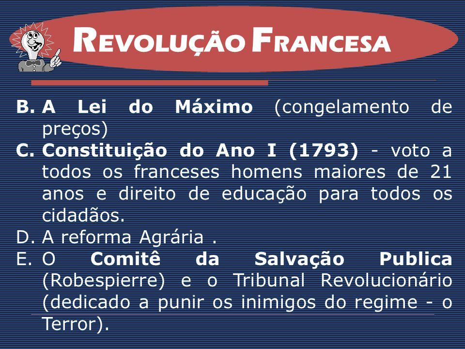 REVOLUÇÃO FRANCESA A Lei do Máximo (congelamento de preços)