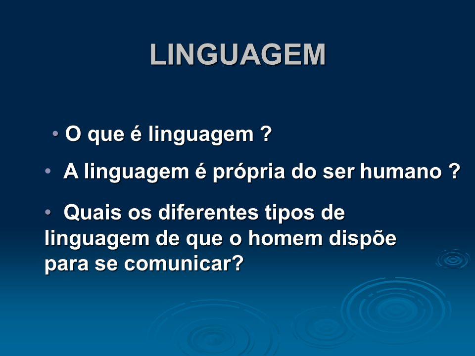 LINGUAGEM O que é linguagem A linguagem é própria do ser humano
