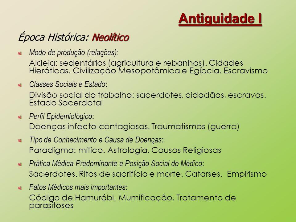 Antiguidade I Época Histórica: Neolítico Modo de produção (relações):