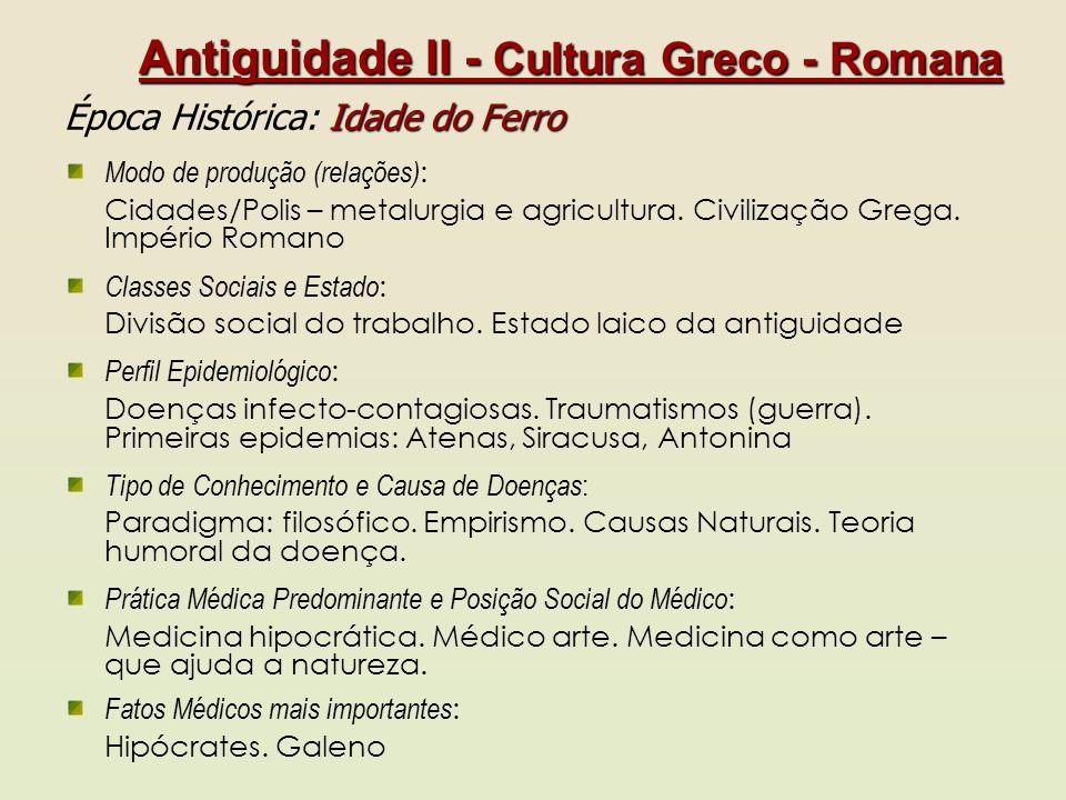 Antiguidade II - Cultura Greco - Romana