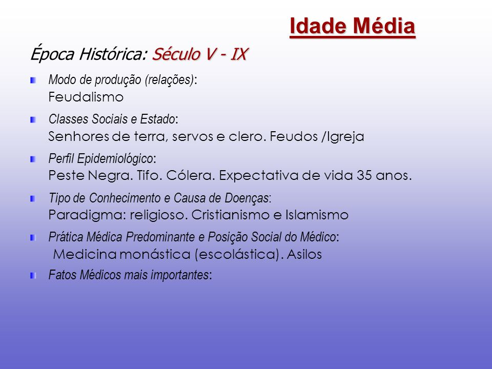 Idade Média Época Histórica: Século V - IX