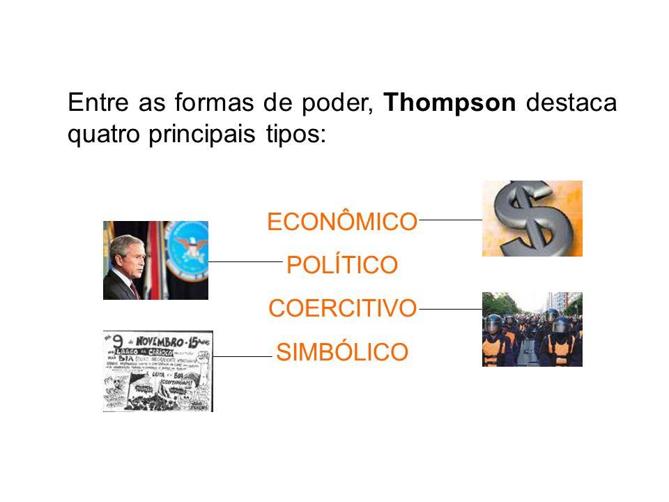 Entre as formas de poder, Thompson destaca quatro principais tipos:
