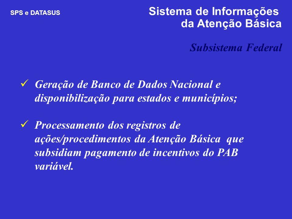 da Atenção Básica Subsistema Federal