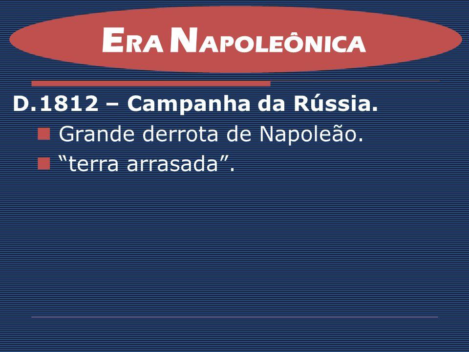 ERA NAPOLEÔNICA 1812 – Campanha da Rússia. Grande derrota de Napoleão.