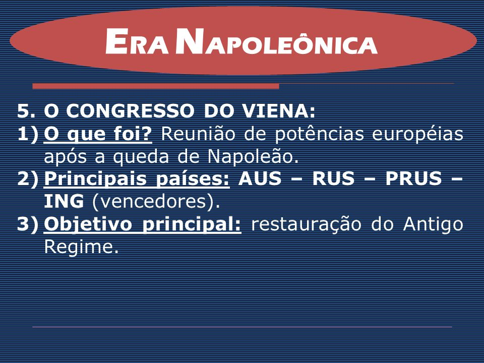 ERA NAPOLEÔNICA O CONGRESSO DO VIENA: