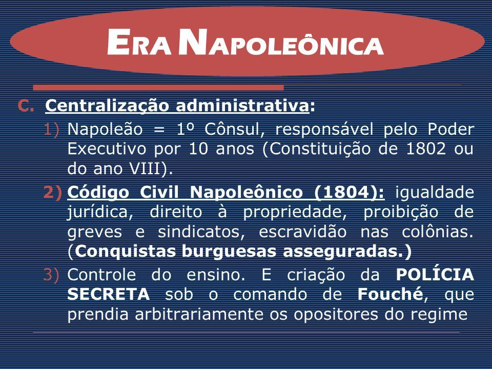 ERA NAPOLEÔNICA Centralização administrativa: