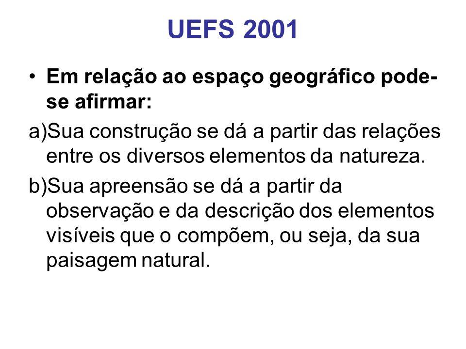 UEFS 2001 Em relação ao espaço geográfico pode-se afirmar:
