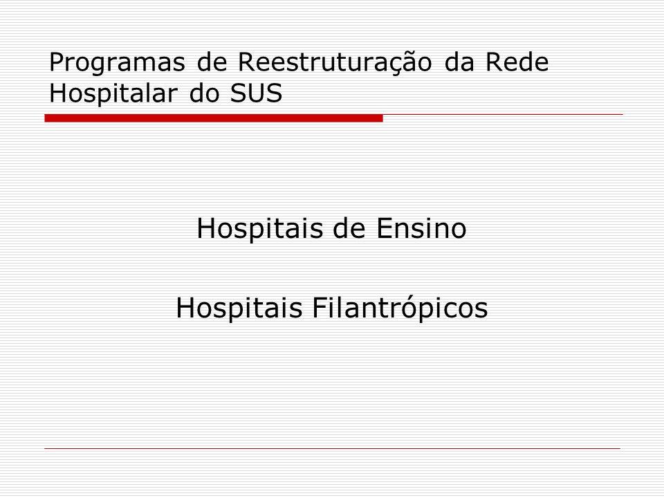 Programas de Reestruturação da Rede Hospitalar do SUS